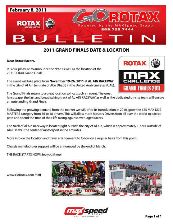 2011 Rotax Grand Finals date announced | Vroomkart International