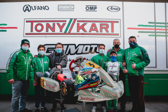 Gamoto on the podium in the WSK Open Cup.