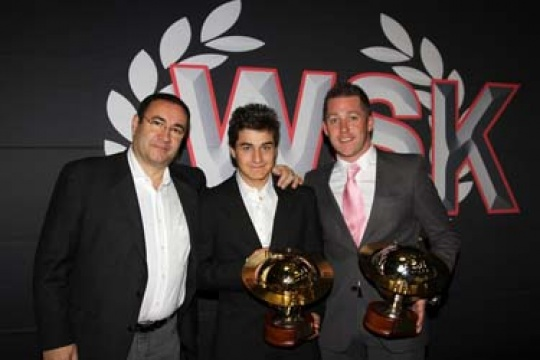 PRIZES GIVEN TO THE CRG CHAMPIONS DURING THE WSK GALA. TORSELLINI AND VERSTAPPEN AWARDED WITH THE FINAL CUP AND KF3 TROPHIES