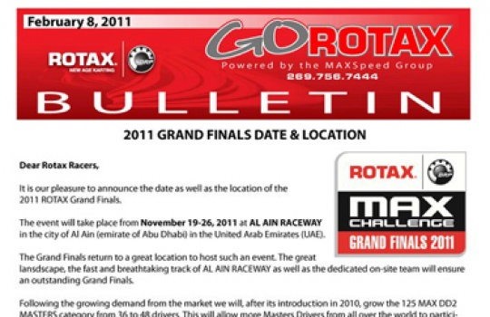 2011 Rotax Grand Finals date announced