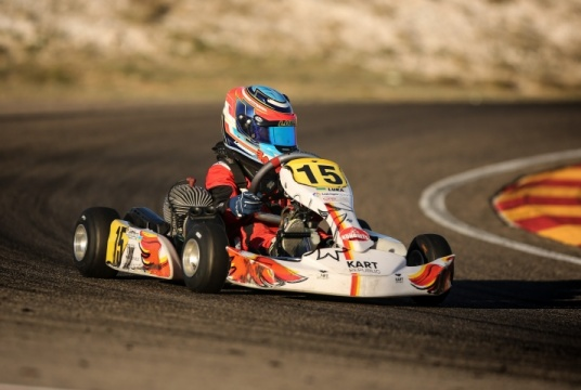 Luka Fedorenko next to the podium at the Spain karting Championship
