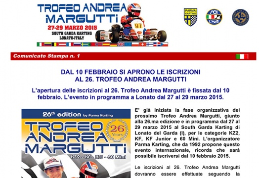 Subscriptions to the 26th Andrea Margutti Trophy to open on February 10
