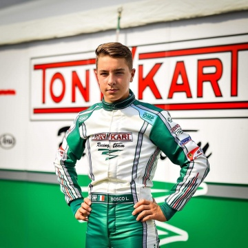 Luca Bosco on track for the International Super Cup KZ2 with Tony Kart colors