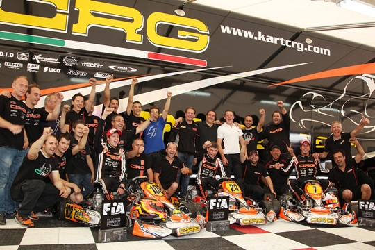 CRG TRIUMPHANT IN GENK WITH VERSTAPPEN (KZ) AND TIENE (KZ2). MAX VERSTAPPEN IS THE NEW EUROPEAN CIK-FIA KZ CHAMPION.