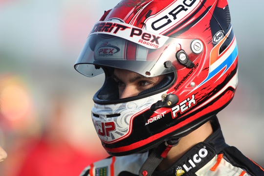 CRG, Jorrit Pex celebrates the third title in the German KZ2 Championship at Genk