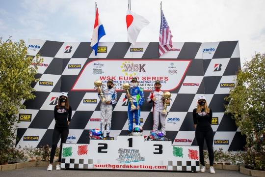 Kai Sorensen on podium in the Euro Series WSK weekend