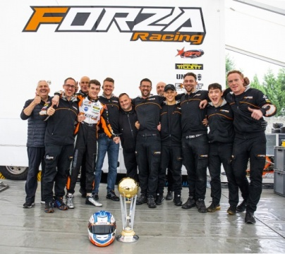 The team on the podium in the WSK Final Cup at Castelletto di Branduzzo