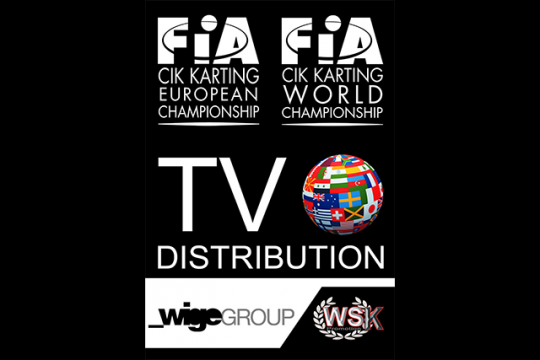 THANKS TO THE AGREEMENT BETWEEN WSK PROMOTION AND WIGE GROUP 185 COUNTRIES ARE INCLUDED IN THE TV DISTRIBUTION LIST FOR CIK-FIA WORLD AND EUROPEAN CHAMPIONSHIPS