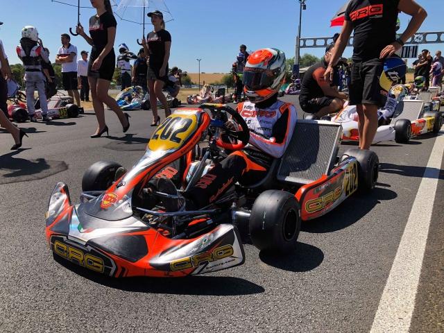 Gabriel Bortoleto on podium of CIK FIA OKJ 2018 European Championship