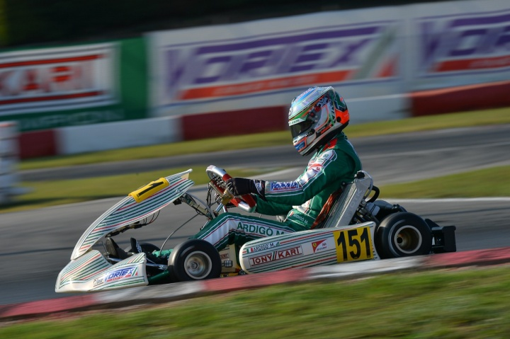 Tony Kart on the podium in KZ2 and OKJ in the 1st round of the WSK Final Cup