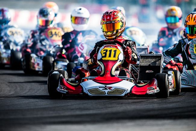 A sniff at the podium for DR Racing Kart