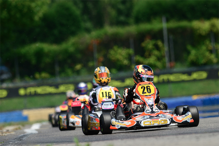 CRG with Meyer on the podium  of the Euro X30 Junior in Castelletto