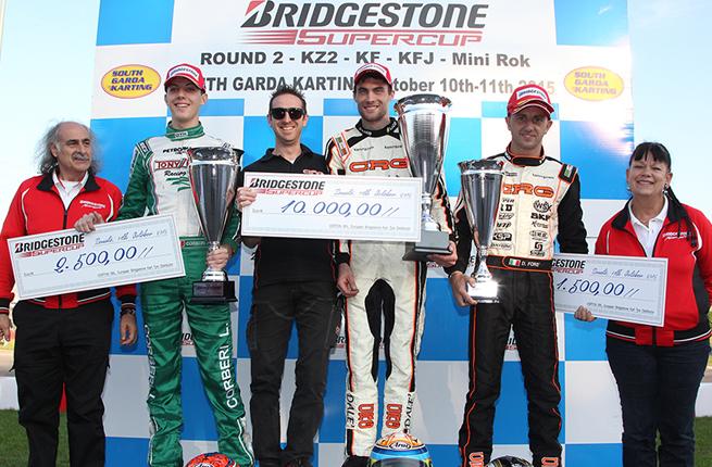 Dalé gets the KZ2 Bridgestone SuperCup in Lonato