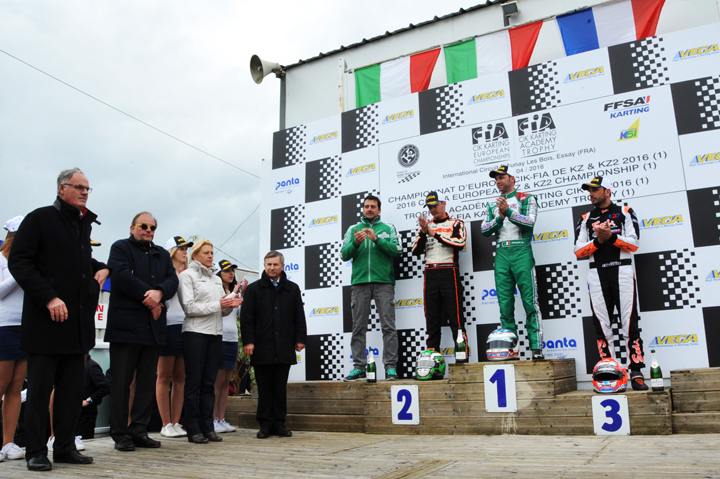 Tony Kart/Vortex won the first round of the European championship with Ardigo and Corberi
