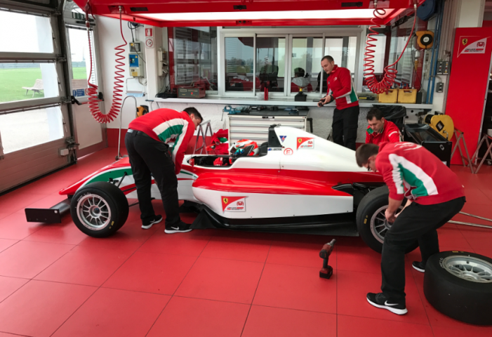 Tony Kart Racing Team drivers under examination at the Ferrari Driver Academy