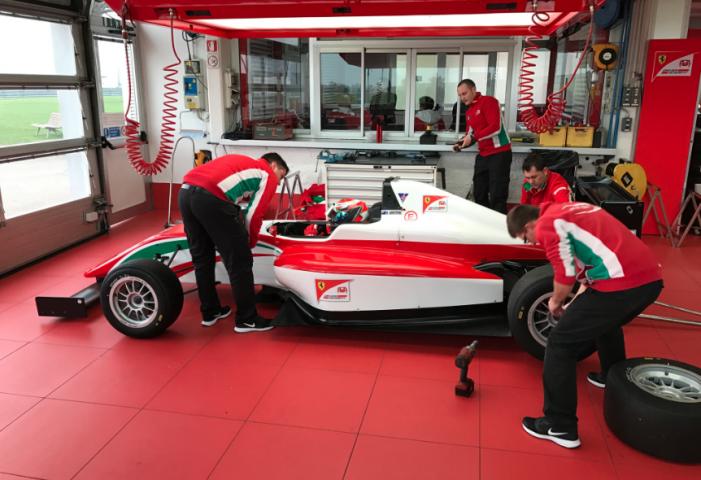 Tony Kart Racing Team drivers under examination at the Ferrari Driver Academy