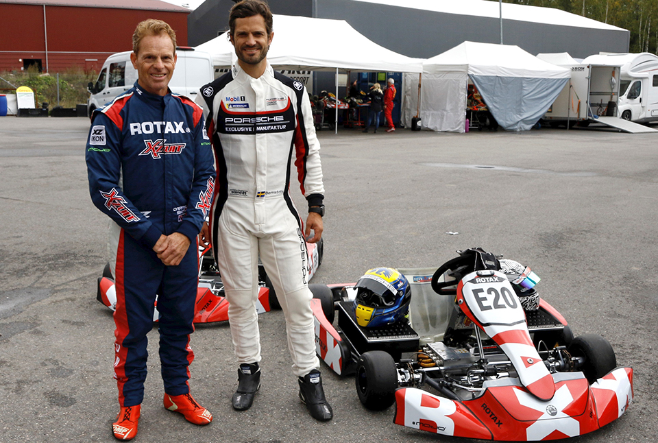 Prince Carl Philip test drives the Rotax Project E20 eKart in Sweden