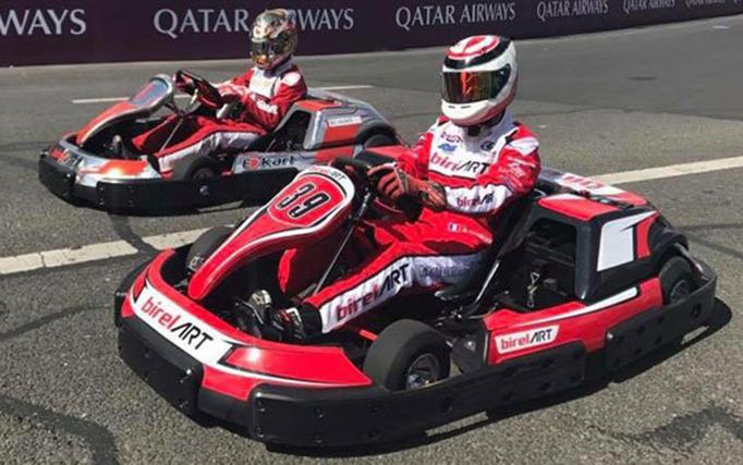 The Birel ART E-Kart featured in Paris with Formula E