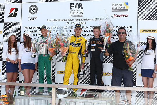 In Kristianstad (S) the winners of the European CIK-FIA Champs round are De Conto (I – Birel-TM KZ), Lundberg (S – Alpha-Parilla KZ2) and Travisanutto (I – PCR-TM KFJ). The titles go to Dreezen (B – Zanardi-Parilla KZ) and Dalè (I – CRG-Maxter KZ2).