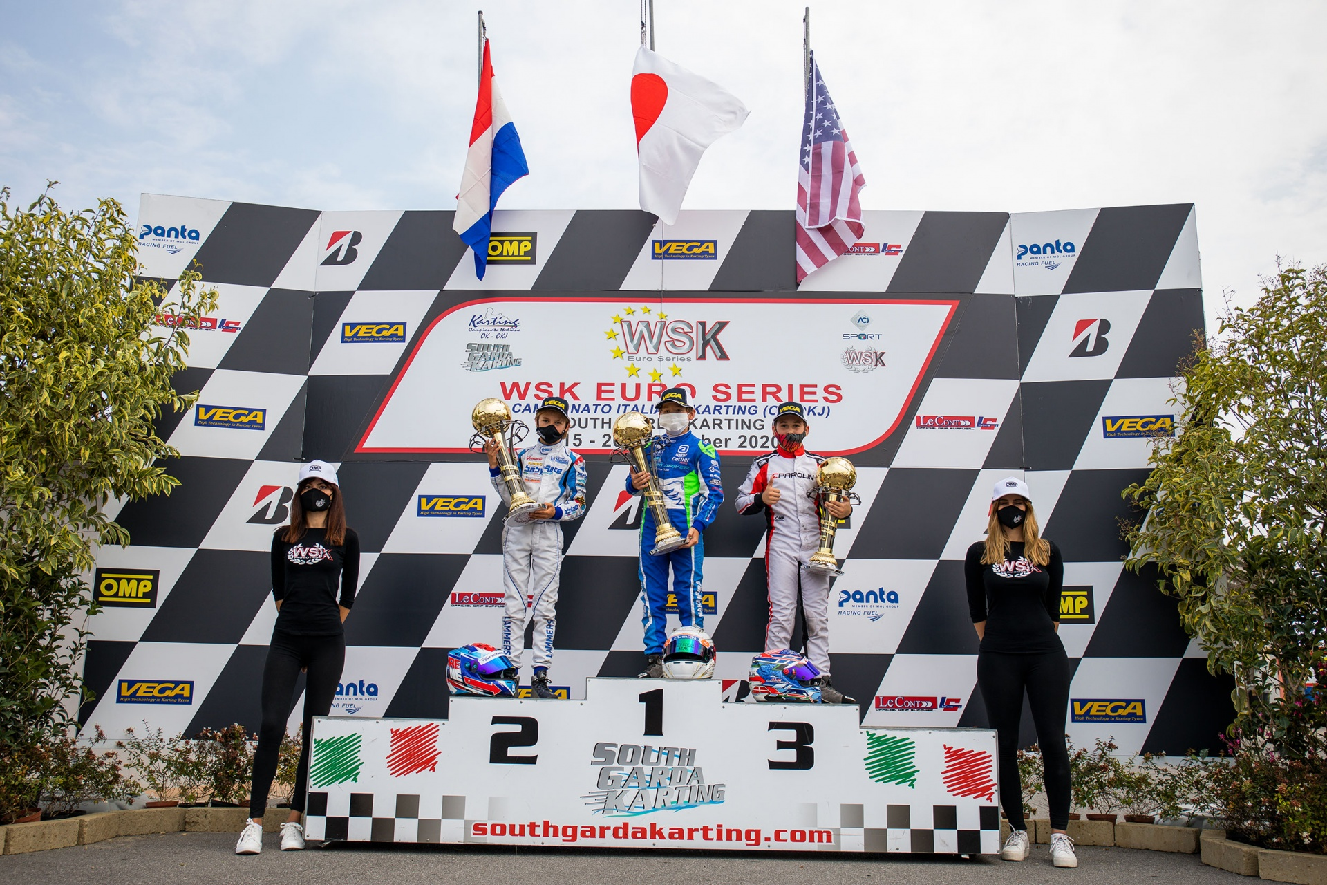 Kai Sorensen on podium in the Euro Series WSK weekend