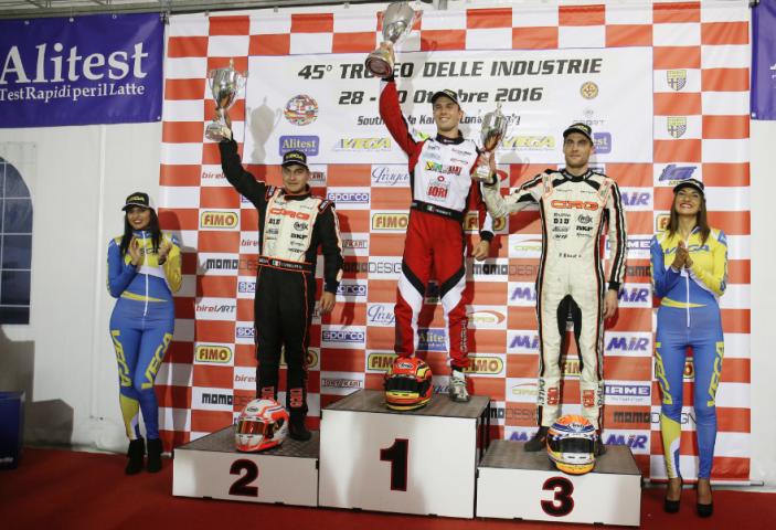 Mirko Torsellini on the podium in KZ2 at his comeback with CRG